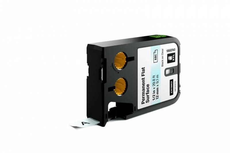 Billede af Labeltape DYMO XTL 12mmx9,1m sort på klar permanent plan