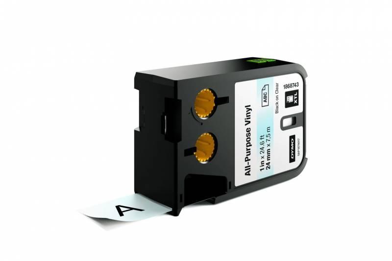 Image of   Labeltape DYMO XTL 24mmx7m sort på klar vinyl universal