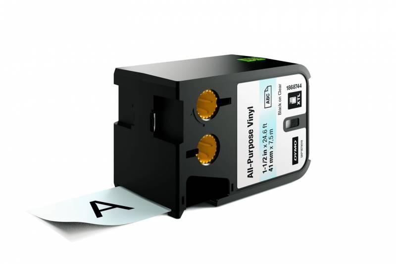 Image of   Labeltape DYMO XTL 41mmx7m sort på klar vinyl universal