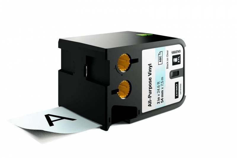 Image of   Labeltape DYMO XTL 54mmx7m sort på klar vinyl universal
