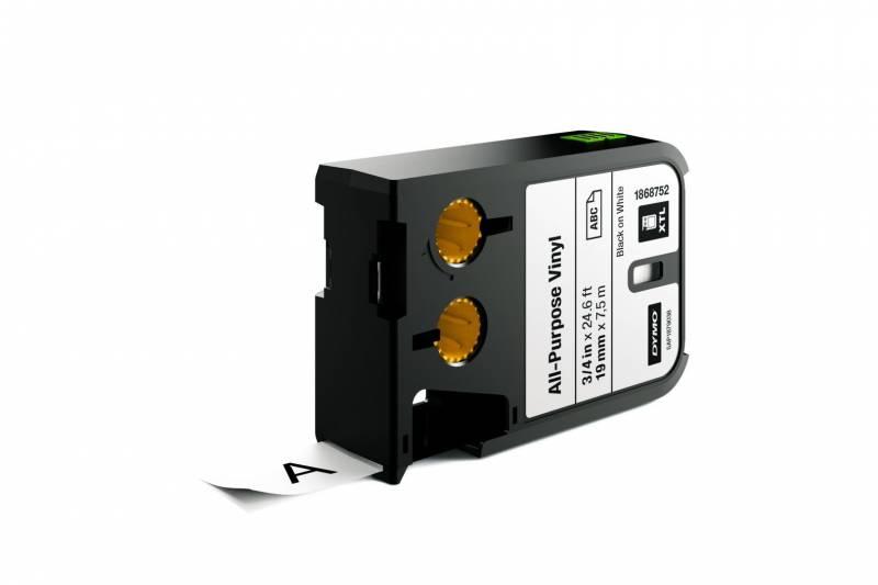 Image of   Labeltape DYMO XTL 19mmx7m sort på hvid vinyl universal