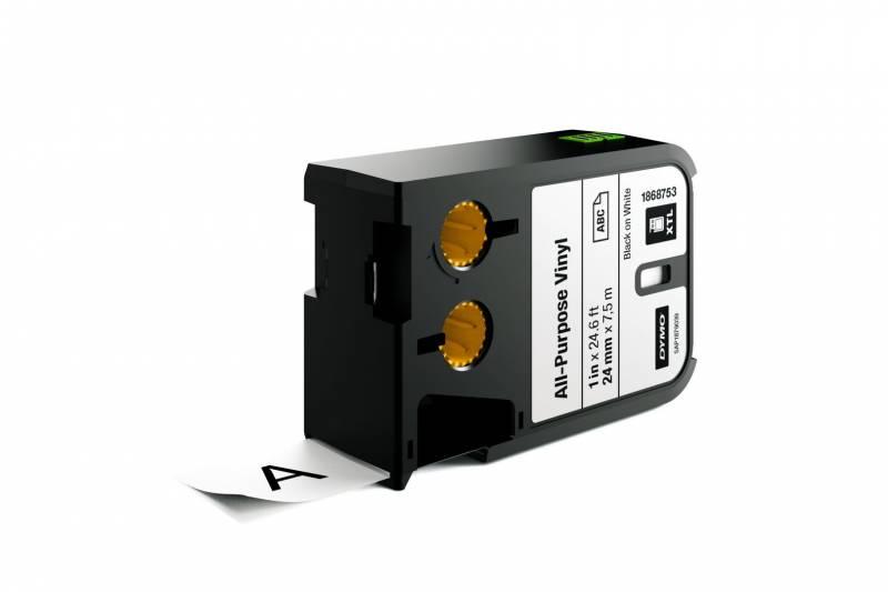 Image of   Labeltape DYMO XTL 24mmx7m sort på hvid vinyl universal
