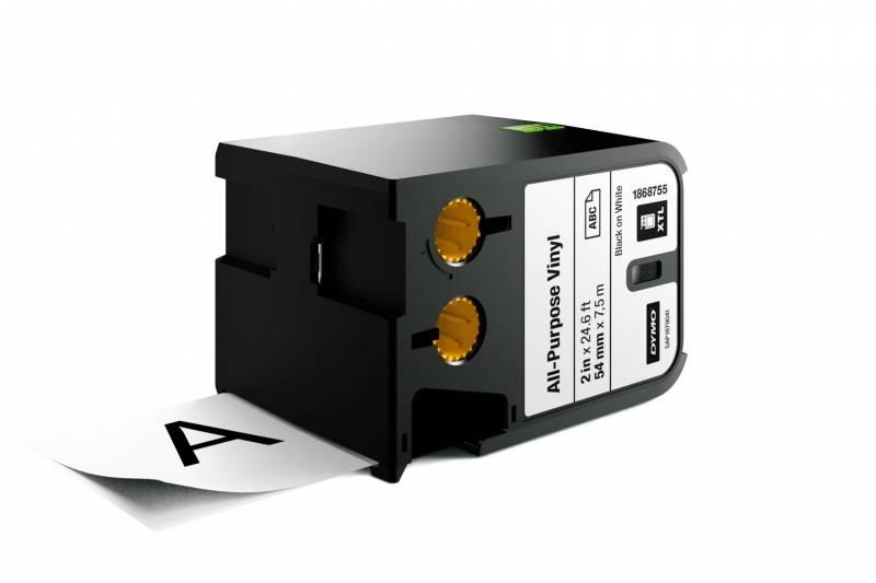 Image of   Labeltape DYMO XTL 54mmx7m sort på hvid vinyl universal