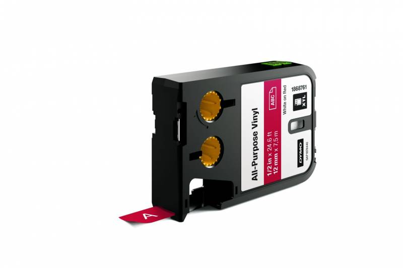 Image of   Labeltape DYMO XTL 12mmx7m hvid på rød vinyl universal