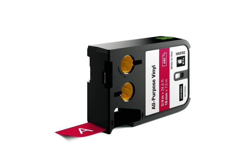 Image of   Labeltape DYMO XTL 19mmx7m hvid på rød vinyl universal