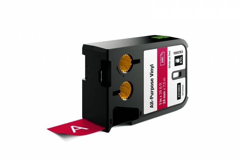 Image of   Labeltape DYMO XTL 24mmx7m hvid på rød vinyl universal