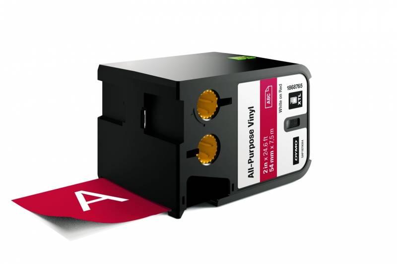 Image of   Labeltape DYMO XTL 54mmx7m hvid på rød vinyl universal