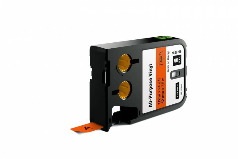 Labeltape DYMO XTL 12mmx7m sort på orange vinyl universal