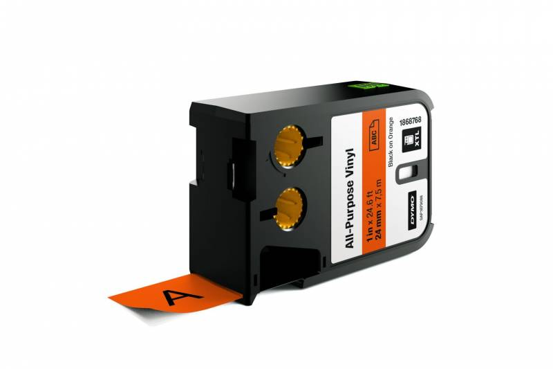 Image of   Labeltape DYMO XTL 24mmx7m sort på orange vinyl universal