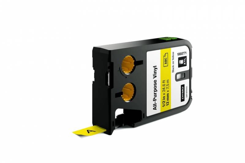 Image of   Labeltape DYMO XTL 12mmx7m sort på gul vinyl universal