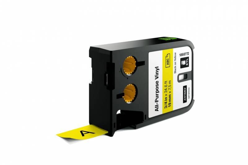 Image of   Labeltape DYMO XTL 19mmx7m sort på gul vinyl universal