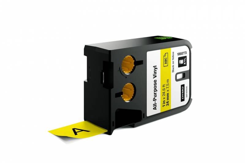 Image of   Labeltape DYMO XTL 24mmx7m sort på gul vinyl universal