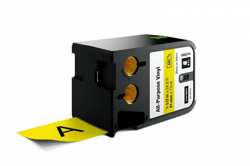Image of   Labeltape DYMO XTL 41mmx7m sort på gul vinyl universal