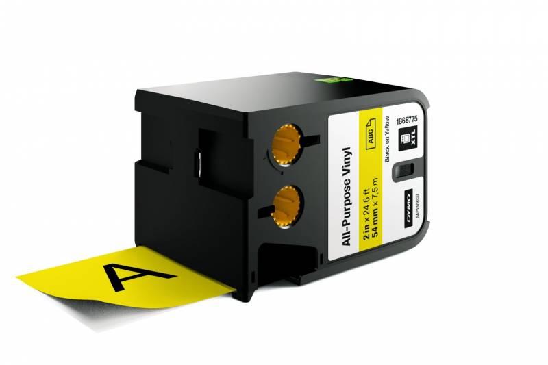 Image of   Labeltape DYMO XTL 54mmx7m sort på gul vinyl universal