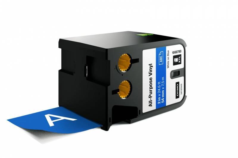 Image of   Labeltape DYMO XTL 54mmx7m hvid på blå vinyl universal