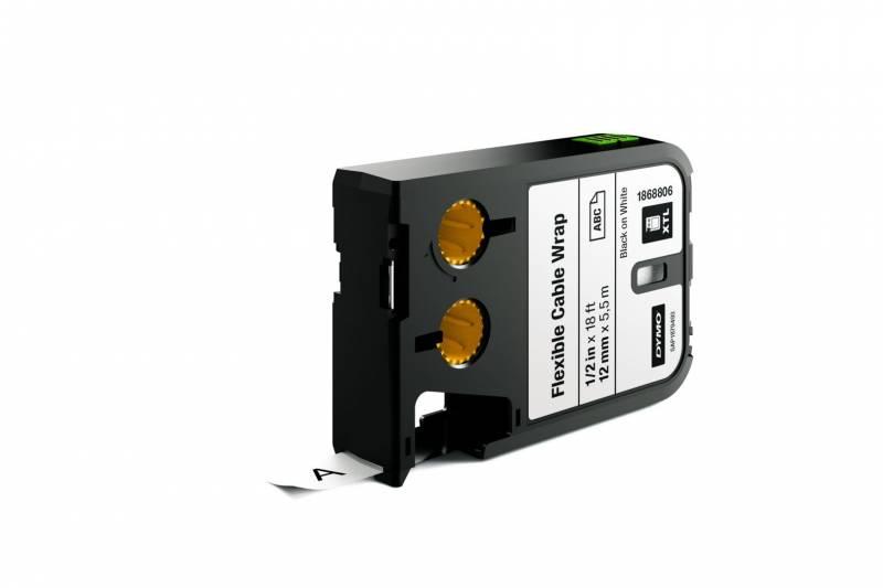 Image of   Labeltape DYMO XTL 12mmx5,5m sort på hvid kabelomvikling