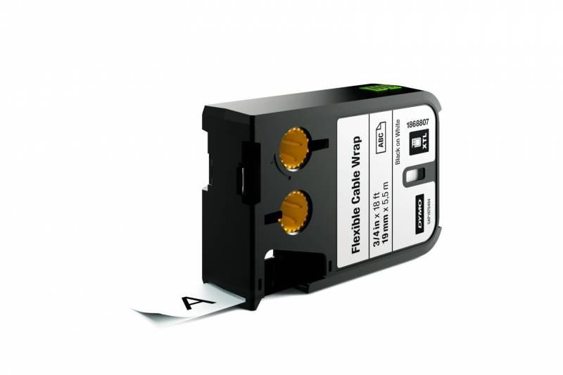 Image of   Labeltape DYMO XTL 19mmx5,5m sort på hvid kabelomvikling
