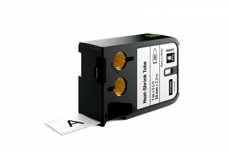 Image of   Labeltape DYMO XTL 24mmx2,7m sort på hvid krympeflex