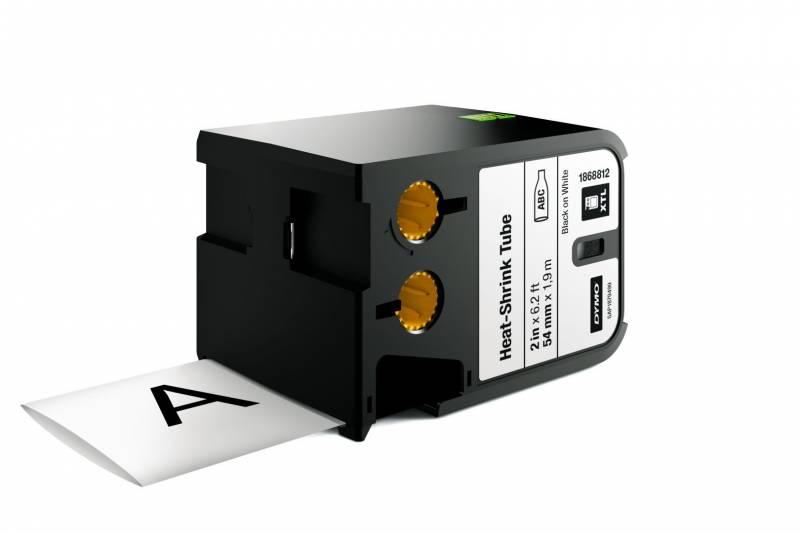 Image of   Labeltape DYMO XTL 54mmx1,8m sort på hvid krympeflex
