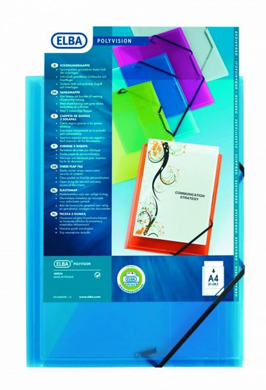 Image of   Plastmappe PP ELBA A4 koboltblå m/3 klapper & elastik