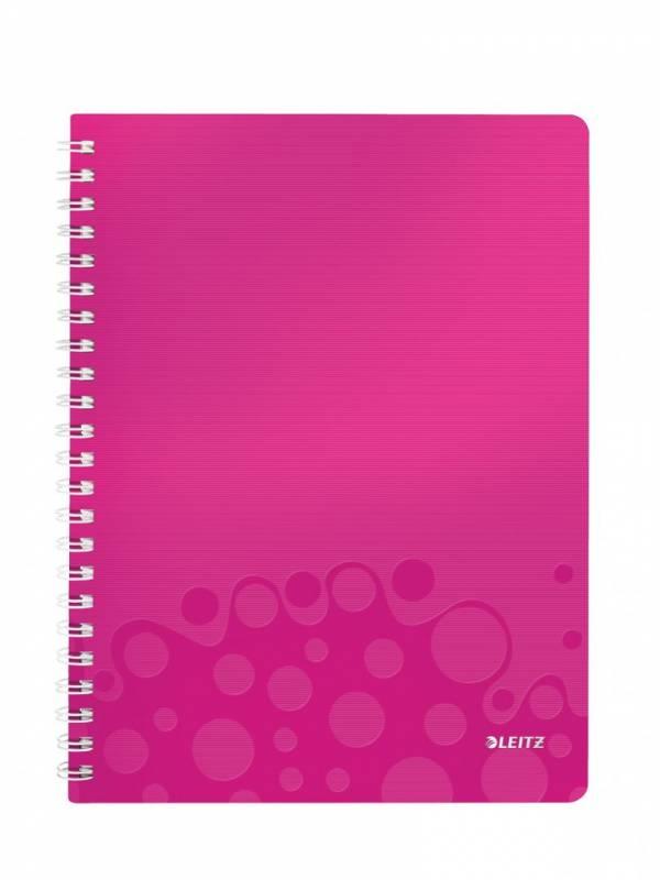 Billede af Notesbog Leitz WOW PP A4 lin m/hul 80g 80 blade pink