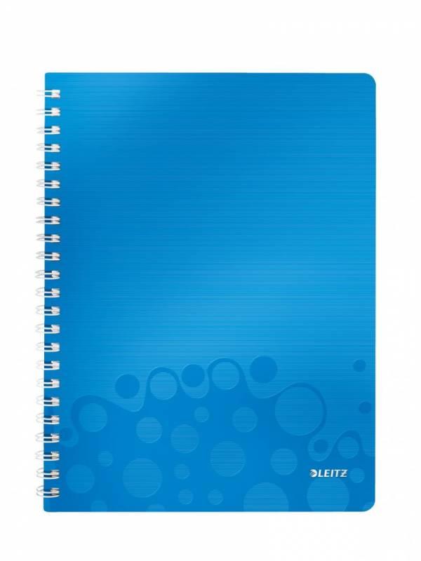 Billede af Notesbog Leitz WOW PP A4 lin m/hul 80g 80 blade blå