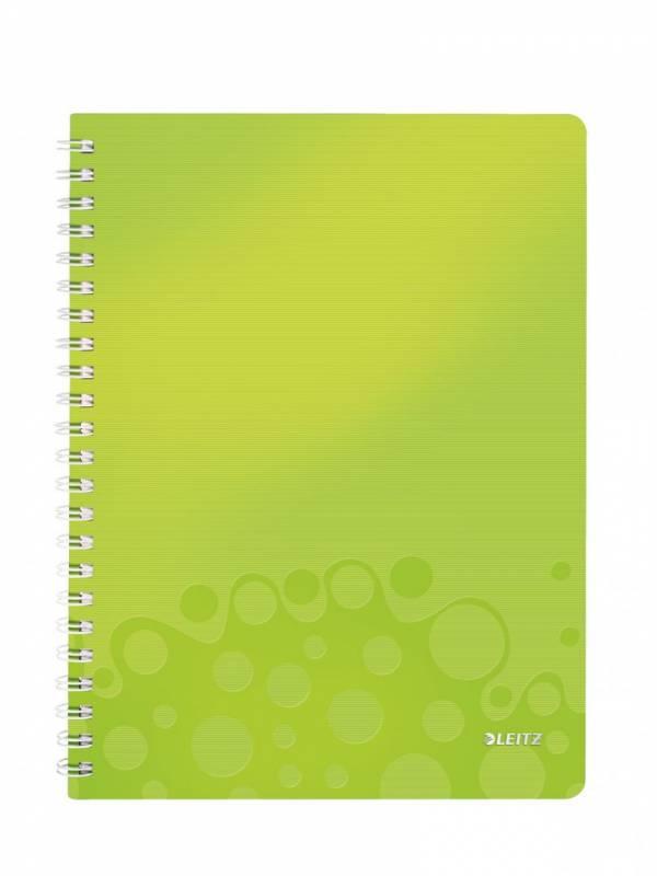 Billede af Notesbog Leitz PP WOW A4 linieret m/hul grøn 80ark
