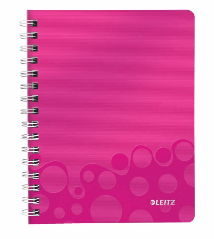 Image of   Notesbog Leitz WOW PP A5 lin m/hul 80g 80 blade pink