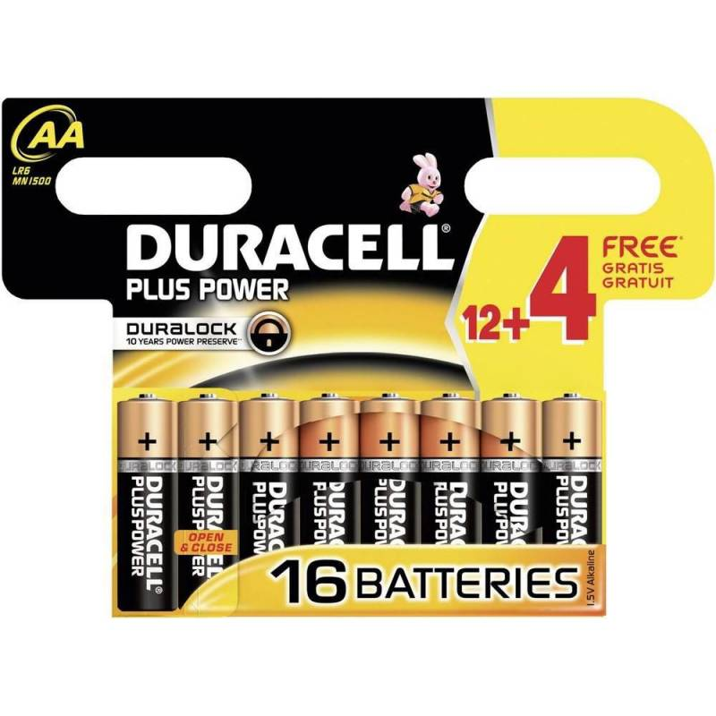 Image of   Batteri Duracell Plus Power AA 16stk/pak (12+4 FREE)