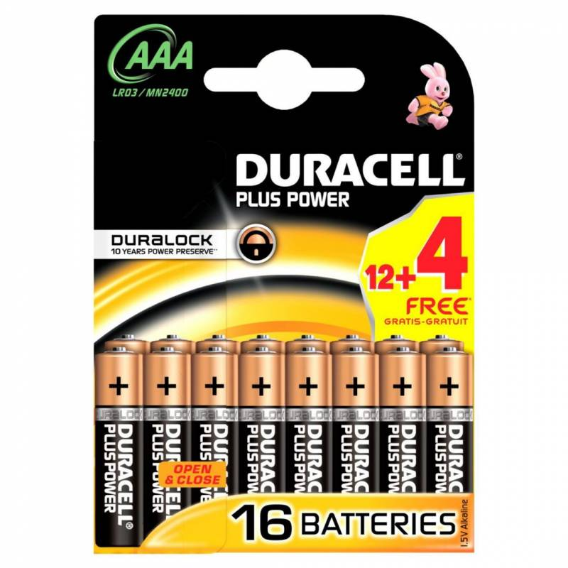 Image of   Batteri Duracell Plus Power AAA 16stk/pak (12+4 FREE)