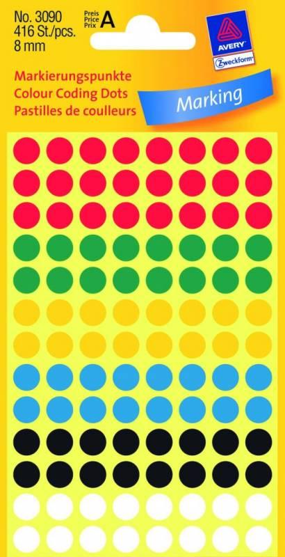 Image of   Etiket Avery ass. farver Ø8mm 3090 416stk/pak