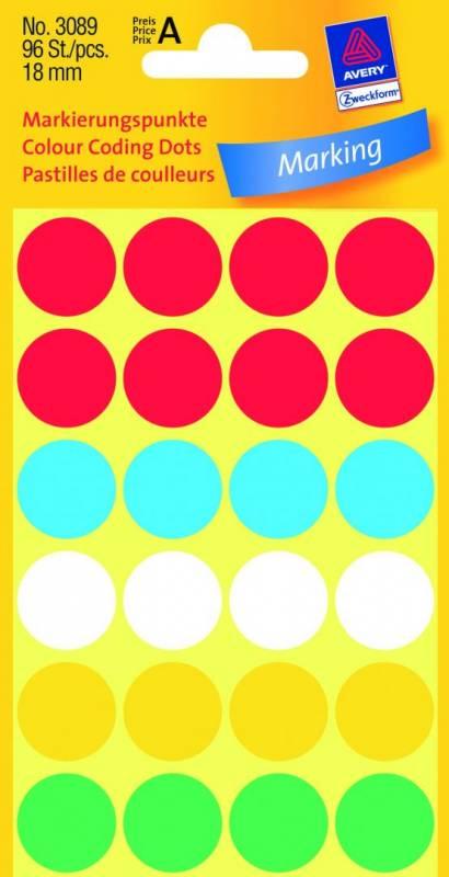 Billede af Etiket Avery ass. farver Ø18mm 3089 96stk/pak