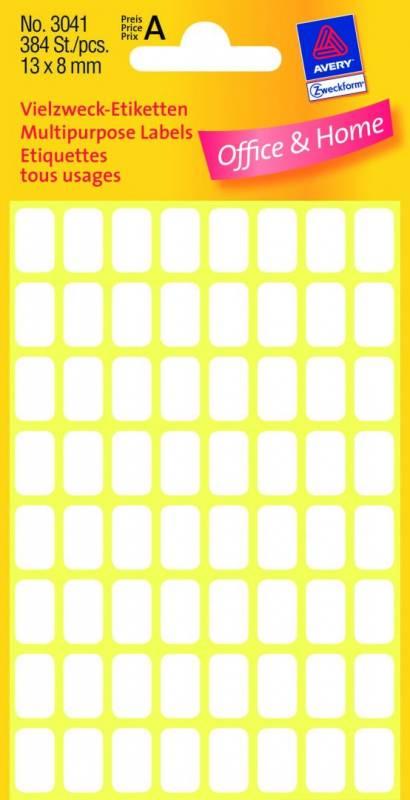 Image of   Etiket Avery hvid 13x8mm 384stk/pak 3041