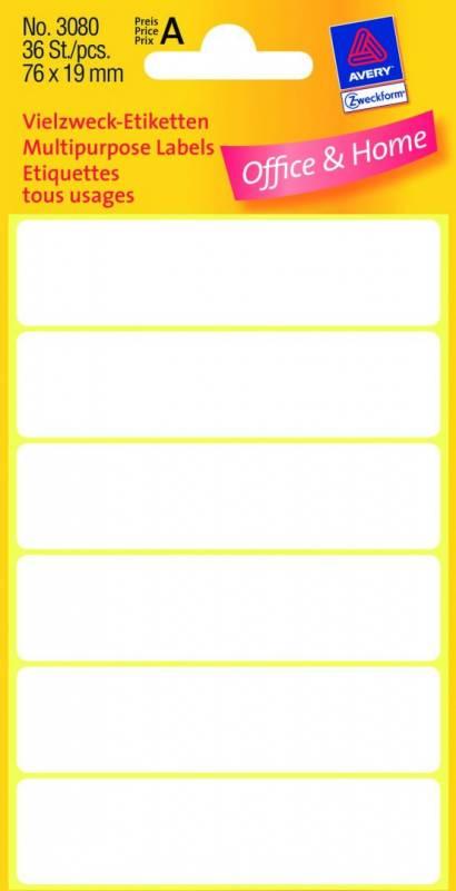 Image of   Etiket Avery hvid 76x19mm 36stk/pak 3080
