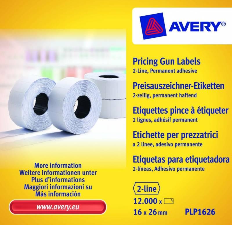 Prisetiketter Avery 2 linjer hvid 26x16mm perm.klæb 10x1200stk