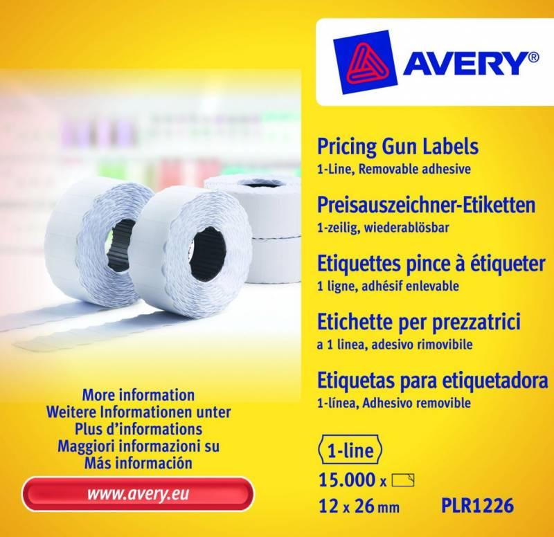 Prisetiketter Avery 1 linje hvid 26x12mm aftagelig 10x1500stk