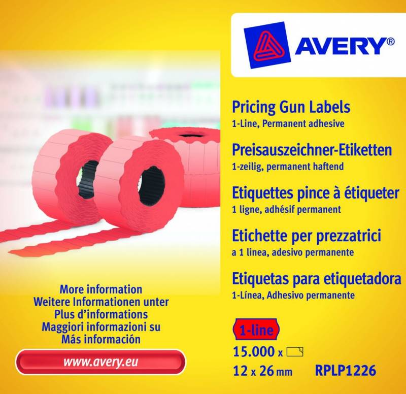 Prisetiketter Avery 1 linje rød 26x12mm perm.klæb 10x1500stk