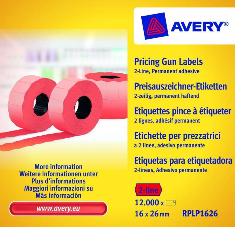 Prisetiketter Avery 2 linjer rød 26x16mm perm.klæb 10x1200stk