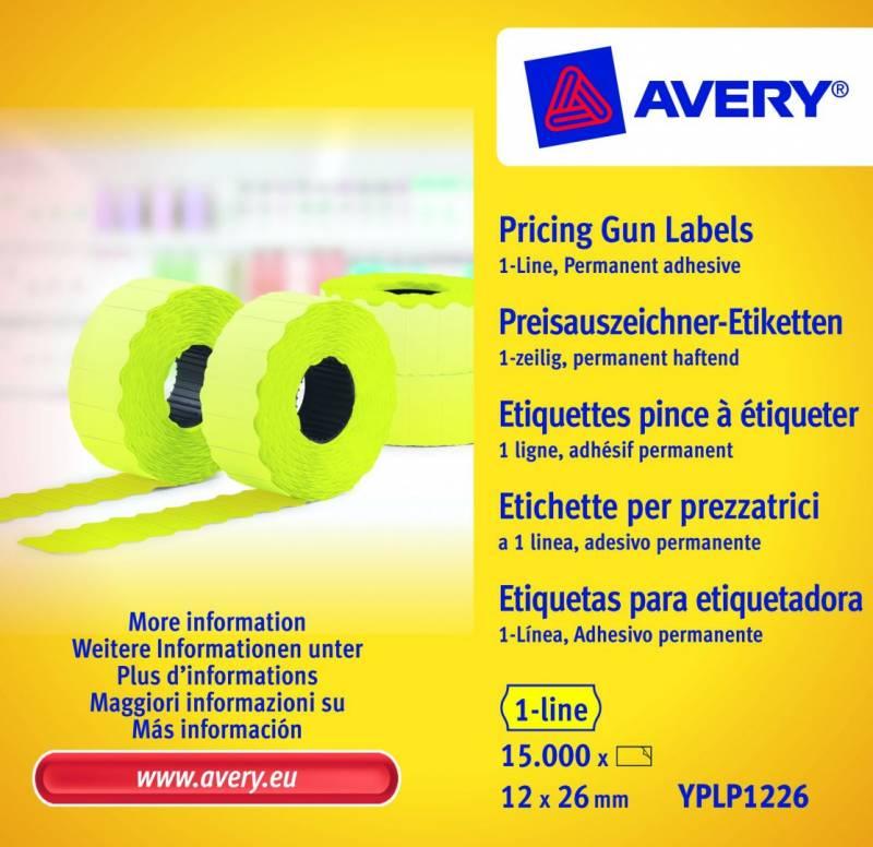 Prisetiketter Avery 1 linje gul 26x12mm perm.klæb 10x1500stk