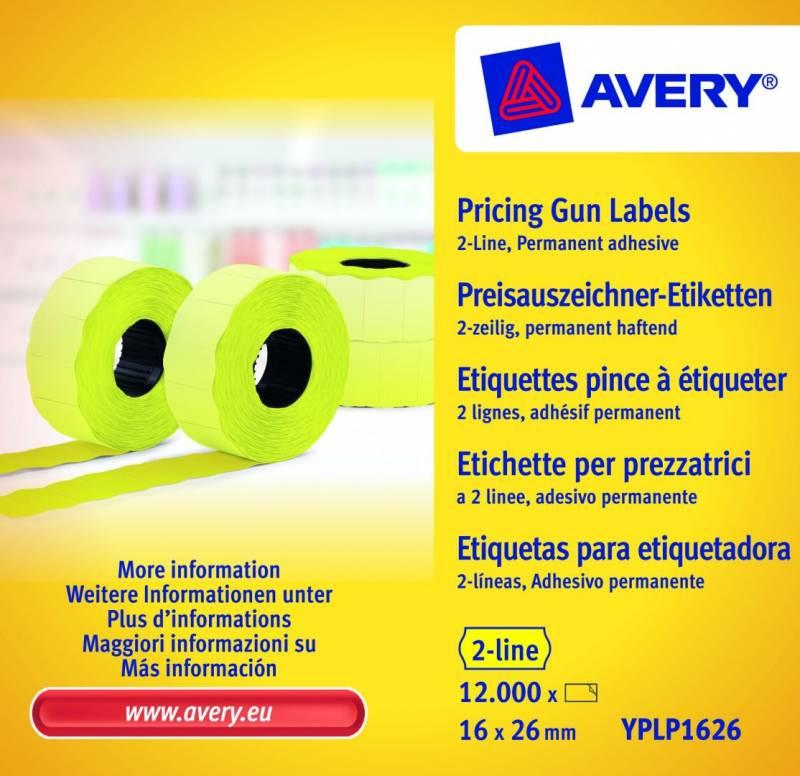 Prisetiketter Avery 2 linjer gul 26x16mm perm.klæb 10x1200stk