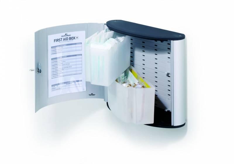Billede af Førstehjælpsskab Durable m/indhold M First aid box alu