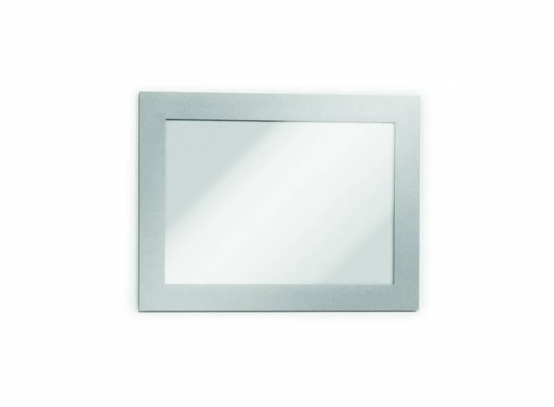 Skilt DURAFRAME® selvklæbende A6 m/sølv ramme 2stk/pak
