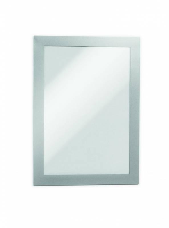Skilt DURAFRAME® selvklæbende A5 m/sølvramme 2stk/ps