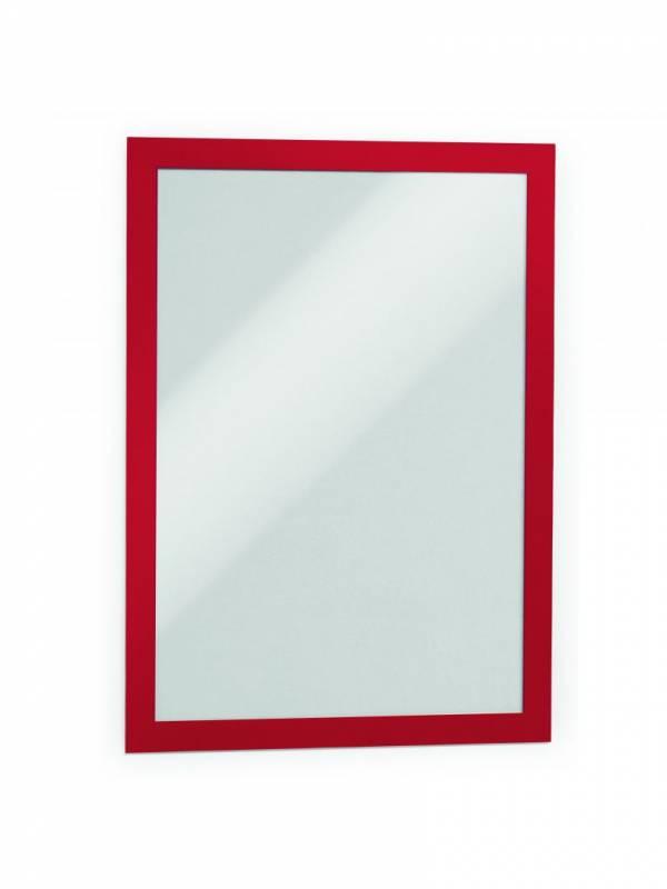 Skilt DURAFRAME® selvklæbende A4 m/rød ramme 2stk/pak