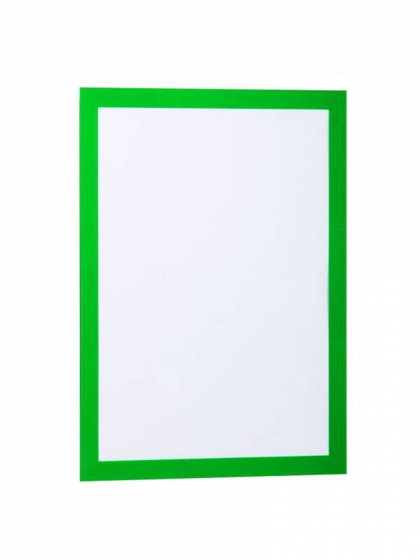 Skilt DURAFRAME® selvklæbende A4 m/grøn ramme 2stk/pak