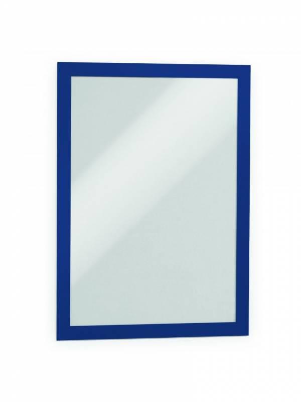 Skilt DURAFRAME® selvklæbende A4 m/blå ramme 2stk/pak