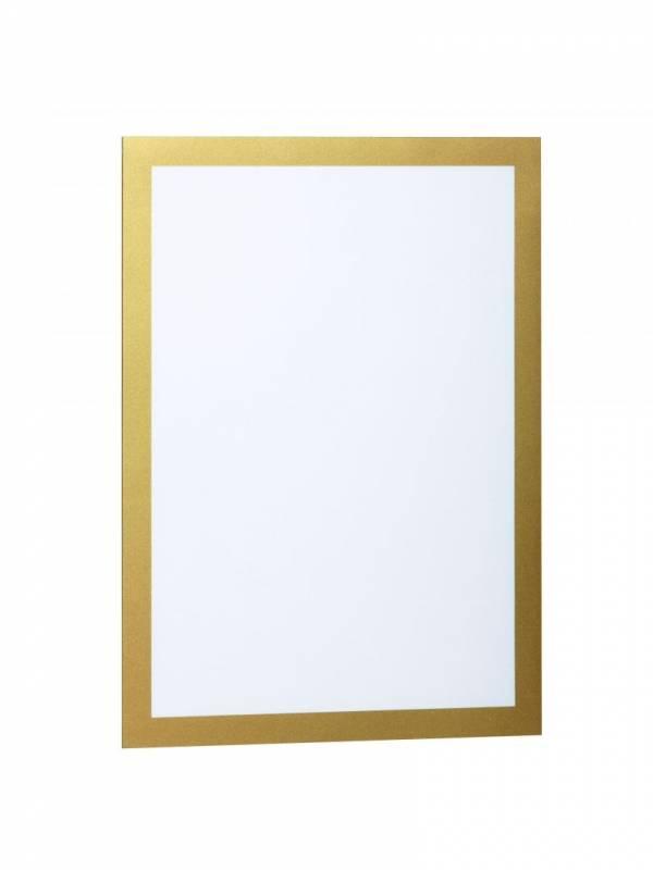 Image of   Skilt DURAFRAME® selvklæbende A4 m/guld ramme 2stk/pak
