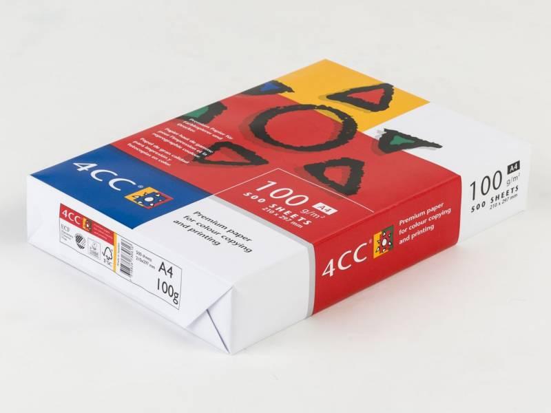 Image of   Kopipapir 4CC A4 100g t/farve kopi/InkJet/laser 500ark/pak