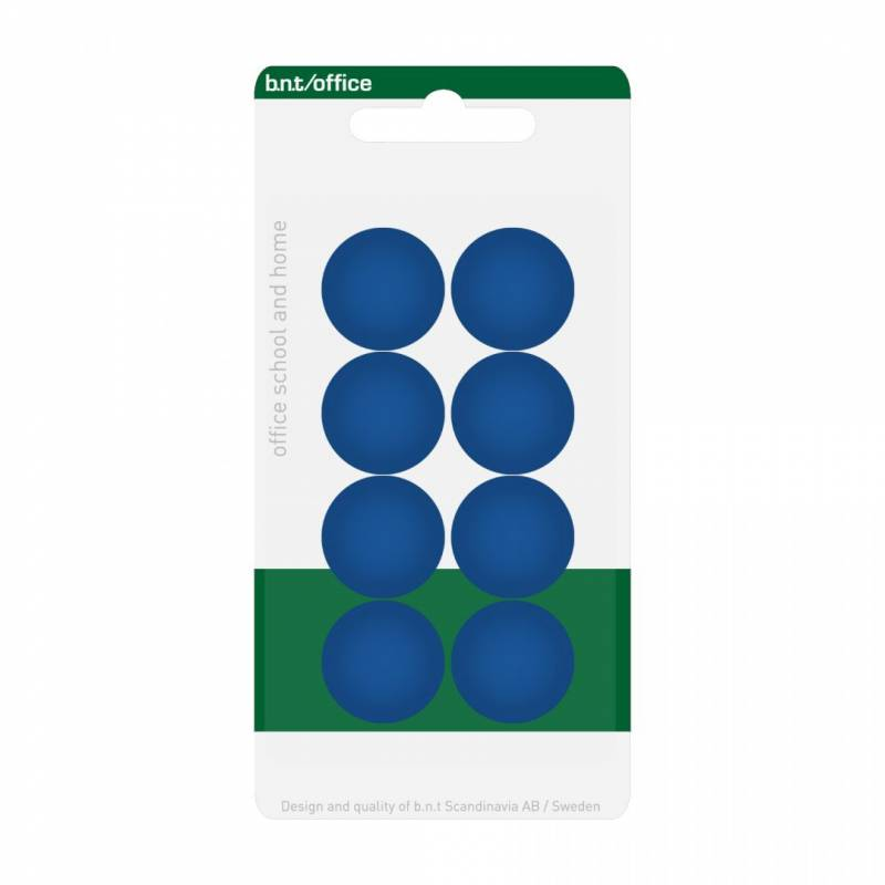 Image of   Magneter bnt blå Ø20mm blister 8stk/pak