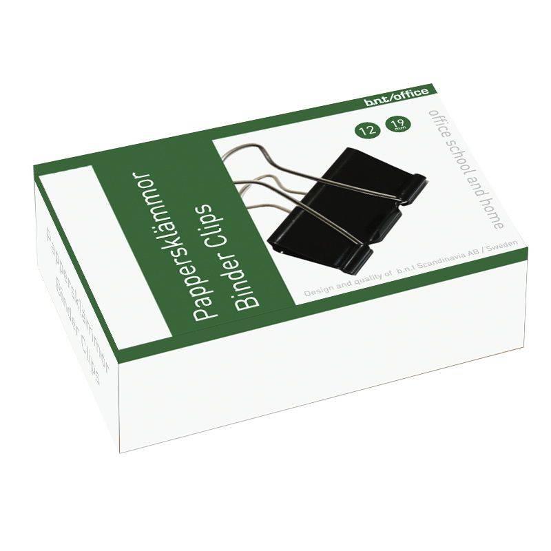 Billede af Papirklemme stål bnt sort 19mm foldback 12stk/pak